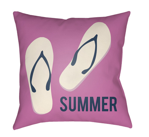 """16"""" Pink and Ivory """"SUMMER"""" Printed Square Throw Pillow Cover - IMAGE 1"""