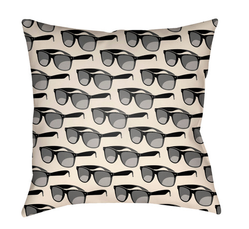 "16"" Ivory and Gray Sunglass Printed Square Throw Pillow Cover - IMAGE 1"