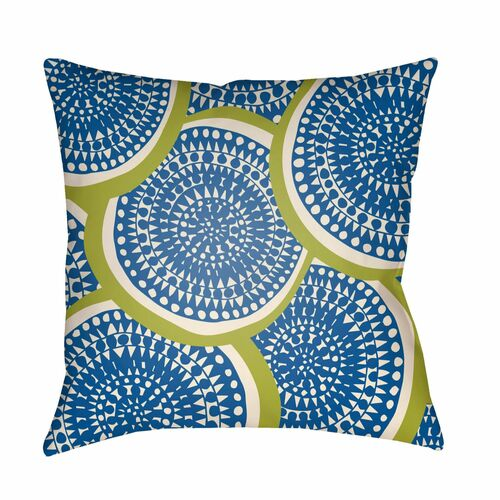 "16"" Blue and White Square Throw Pillow Cover with Knife Edge - IMAGE 1"