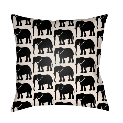 "16"" Ivory and Black Elephants Printed Square Throw Pillow Cover - IMAGE 1"