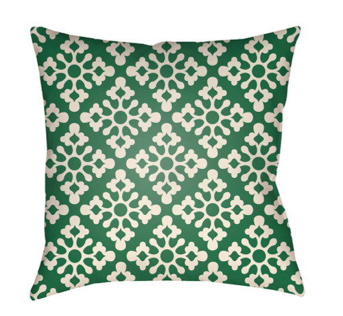 """16"""" White and Green Damask Square Throw Pillow Cover - IMAGE 1"""