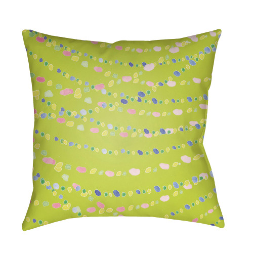 """18"""" Green and Pink Beads Printed Square Throw Pillow Cover - IMAGE 1"""