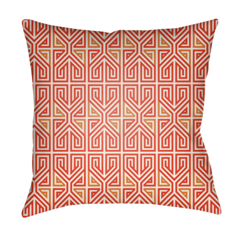"""16"""" Red and Orange Geometric Square Throw Pillow Cover with Knife Edge - IMAGE 1"""