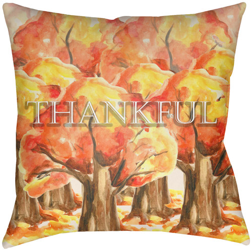 """16"""" Brown and Golden Colored """"THANKFUL"""" Printed Square Throw Pillow Cover with Knife Edge - IMAGE 1"""