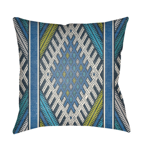 """16"""" Blue and Olive Green Square Throw Pillow Cover with Knife Edge - IMAGE 1"""