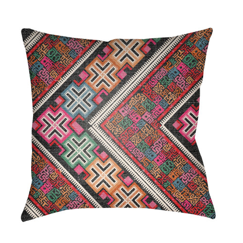 """16"""" Red and Black Square Throw Pillow Cover with Knife Edge - IMAGE 1"""