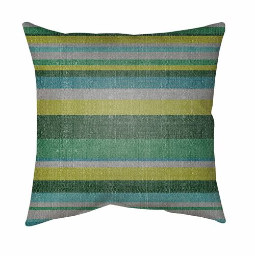 """16"""" Gray and Green Striped Square Throw Pillow Cover with Knife Edge - IMAGE 1"""