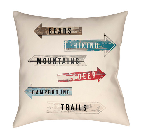 """16"""" Cream White and Red Outdoor Signs Printed Square Throw Pillow Cover with Knife Edge - IMAGE 1"""