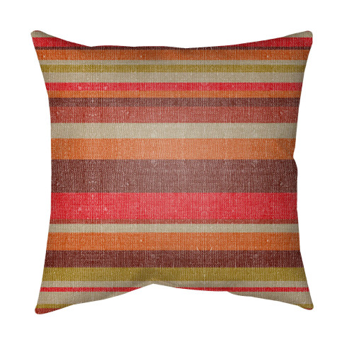 "16"" Red and Brown Striped Square Throw Pillow Cover with Knife Edge - IMAGE 1"