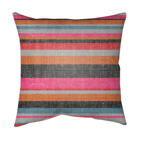 """16"""" Orange and Gray Striped Square Throw Pillow Cover with Knife Edge - IMAGE 1"""