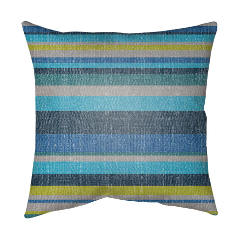 """16"""" Olive Green and Blue Striped Square Throw Pillow Cover with Knife Edge - IMAGE 1"""