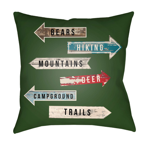 """16"""" Green and Red Outdoor Signs Printed Square Throw Pillow Cover with Knife Edge - IMAGE 1"""