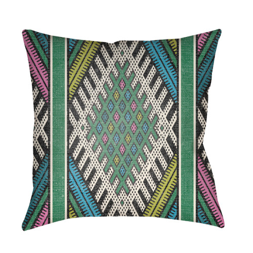 """16"""" Forest Green and Black Square Throw Pillow Cover with Knife Edge - IMAGE 1"""