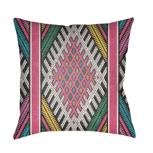 "16"" Green and Pink Square Throw Pillow Cover with Knife Edge - IMAGE 1"