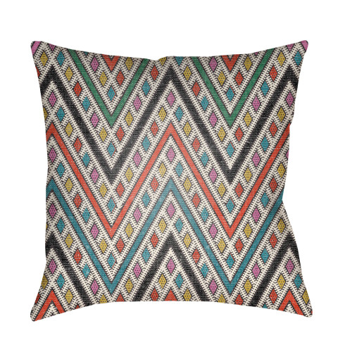 """16"""" White and Blue Square Throw Pillow Cover with Knife Edge - IMAGE 1"""