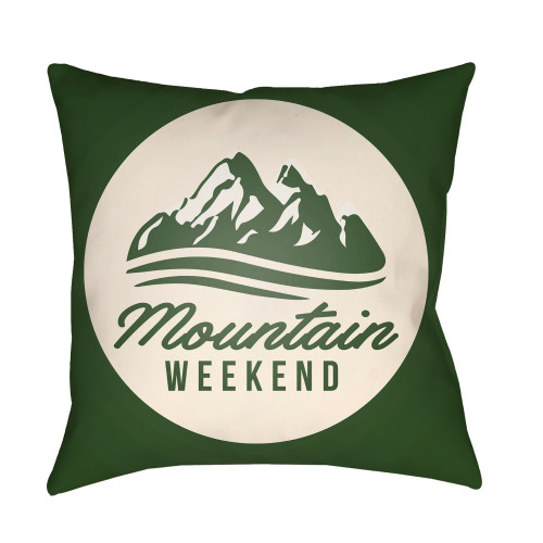 """16"""" Green and White """"Mountain WEEKEND"""" Square Throw Pillow Cover - IMAGE 1"""
