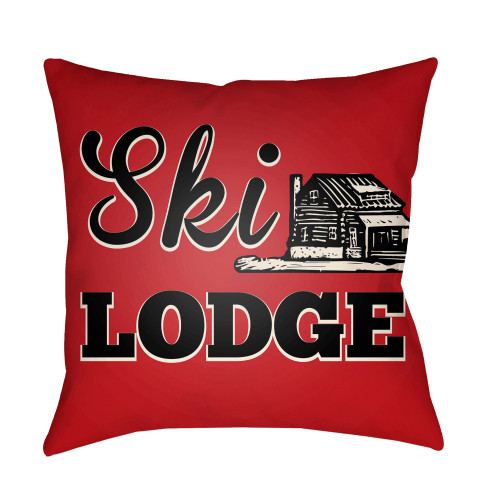 """16"""" Red and Black """"Ski LODGE"""" Printed Square Throw Pillow Cover - IMAGE 1"""