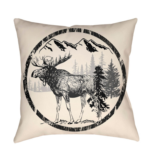 """16"""" Beige and Black Moose Printed Square Throw Pillow Cover - IMAGE 1"""