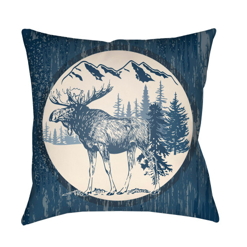 """16"""" Navy Blue and Beige Moose Printed Square Throw Pillow Cover - IMAGE 1"""