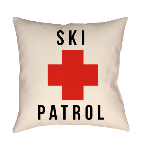 "16"" White and Red ""SKI PATROL"" Square Throw Pillow Cover - IMAGE 1"