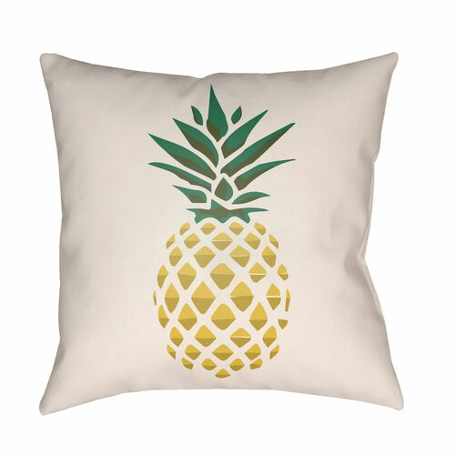 """16"""" Yellow and Cream White Pineapple Printed Square Throw Pillow Cover - IMAGE 1"""