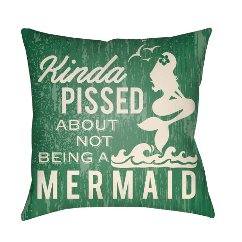 """16"""" Ivory and Green Mermaid Typography Printed Square Throw Pillow Cover - IMAGE 1"""