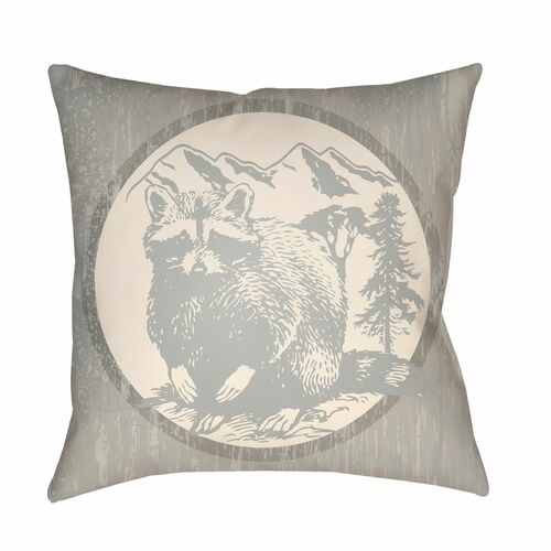 "16"" Gray and Ivory Raccoon Printed Square Throw Pillow Cover - IMAGE 1"
