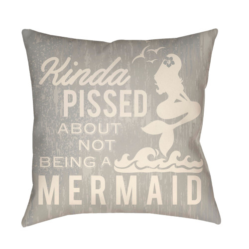 "16"" Gray and Ivory Mermaid Typography Printed Square Throw Pillow Cover - IMAGE 1"