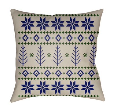 """18"""" Ivory and Green Square Throw Pillow Cover with Knife Edge - IMAGE 1"""