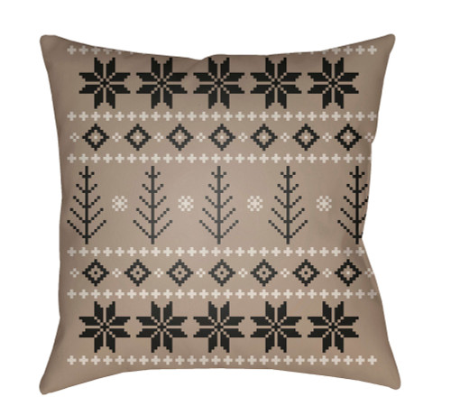 """18"""" Brown and White Square Throw Pillow Cover with Knife Edge - IMAGE 1"""