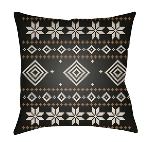 """18"""" Black and White Square Throw Pillow Cover with Knife Edge - IMAGE 1"""