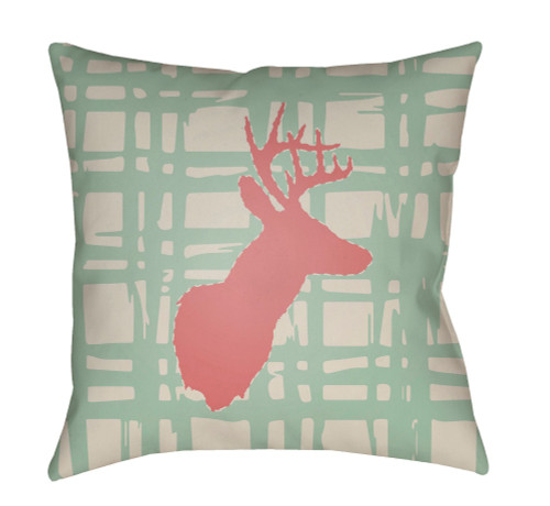 """18"""" Green and Red Deer Printed Square Throw Pillow Cover - IMAGE 1"""