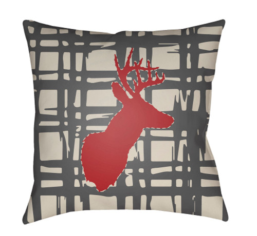 """18"""" Gray and Red Deer Printed Square Throw Pillow Cover - IMAGE 1"""