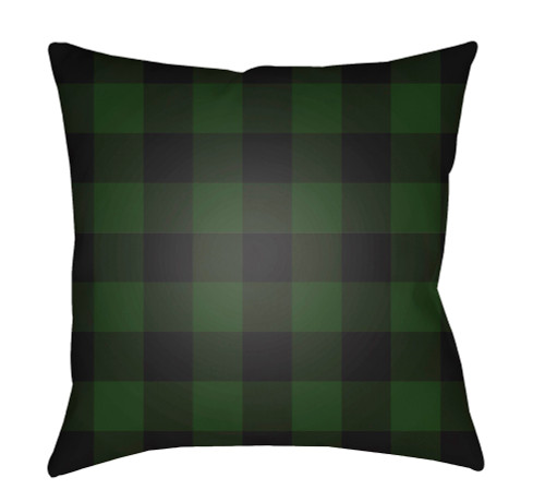 """18"""" Green and Black Checkered Square Throw Pillow Cover - IMAGE 1"""