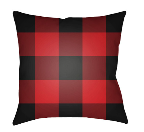 """18"""" Red and Black Checkered Square Throw Pillow Cover - IMAGE 1"""