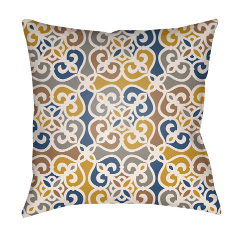 "16"" Navy Blue and Gray Square Throw Pillow Cover with Knife Edge - IMAGE 1"