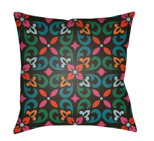 """16"""" Black and Green Floral Square Throw Pillow Cover with Knife Edge - IMAGE 1"""