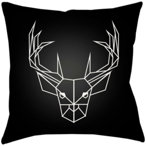"""18"""" Black and White Deer Printed Square Throw Pillow Cover - IMAGE 1"""