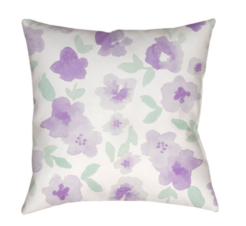 """18"""" Green and Purple Floral Printed Square Throw Pillow Cover with Knife Edge - IMAGE 1"""