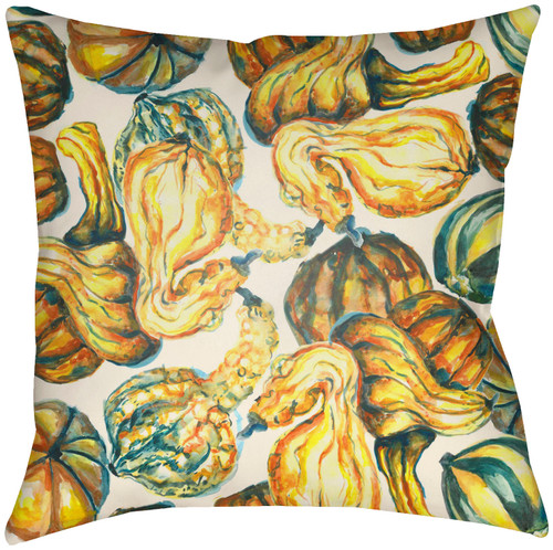 """16"""" Gold Colored and Green Pumpkin Printed Square Throw Pillow Cover with Knife Edge - IMAGE 1"""