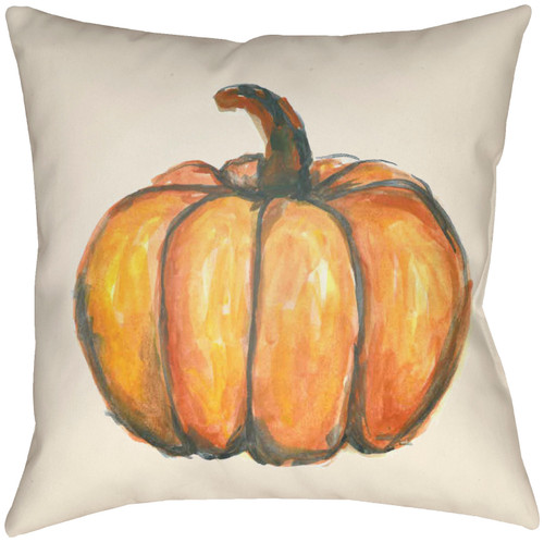 """16"""" Burnt Orange and Ivory Pumpkin Printed Square Throw Pillow Cover with Knife Edge - IMAGE 1"""