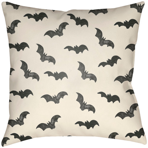 """16"""" Ivory and Black Bats Printed Square Throw Pillow Cover with Knife Edge - IMAGE 1"""