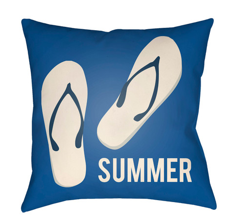 """16"""" Navy Blue and Ivory """"SUMMER"""" Printed Square Throw Pillow Cover - IMAGE 1"""