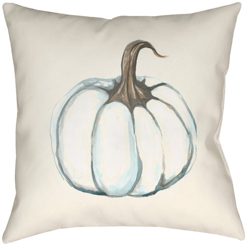 """16"""" Ivory and Taupe Brown Pumpkin Printed Square Throw Pillow Cover with Knife Edge - IMAGE 1"""