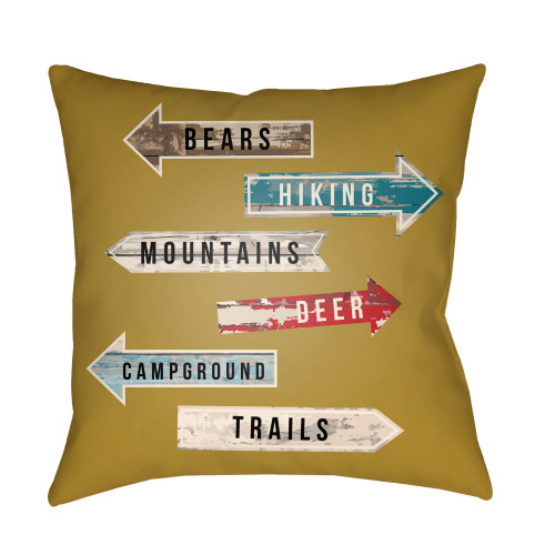 """16"""" Mustard Yellow and Brown Sign Board Themed Square Throw Pillow Cover - IMAGE 1"""