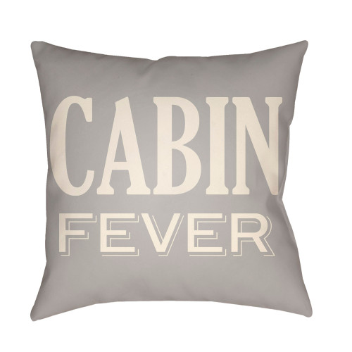 "16"" Gray and Beige ""CABIN FEVER"" Printed Square Throw Pillow Cover - IMAGE 1"