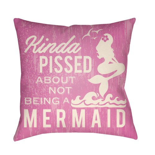 """16"""" Ivory and Pink Mermaid Typography Printed Square Throw Pillow Cover - IMAGE 1"""