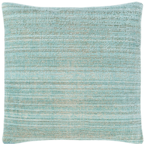 """21"""" Green and Beige Striped Design Woven Square Throw Pillow with Knife Edge - Polyester Filler - IMAGE 1"""