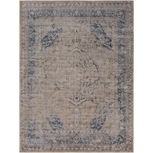2' x 3' Distressed Oriental Style Brown and Gray Rectangular Machine Woven Area Throw Rug - IMAGE 1