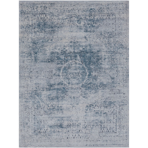 2' x 3' Distressed Vintage Style Black and Gray Rectangular Machine Woven Area Throw Rug - IMAGE 1